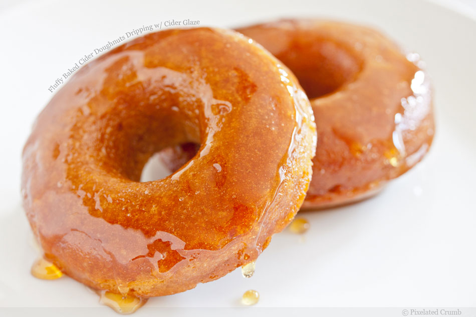 Fluffy Baked Cider Doughnuts Dripping with Cider Glaze