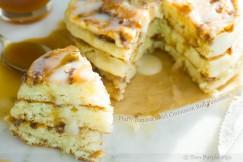 Fluffy Banana Swirl Cinnamon Roll Pancakes
