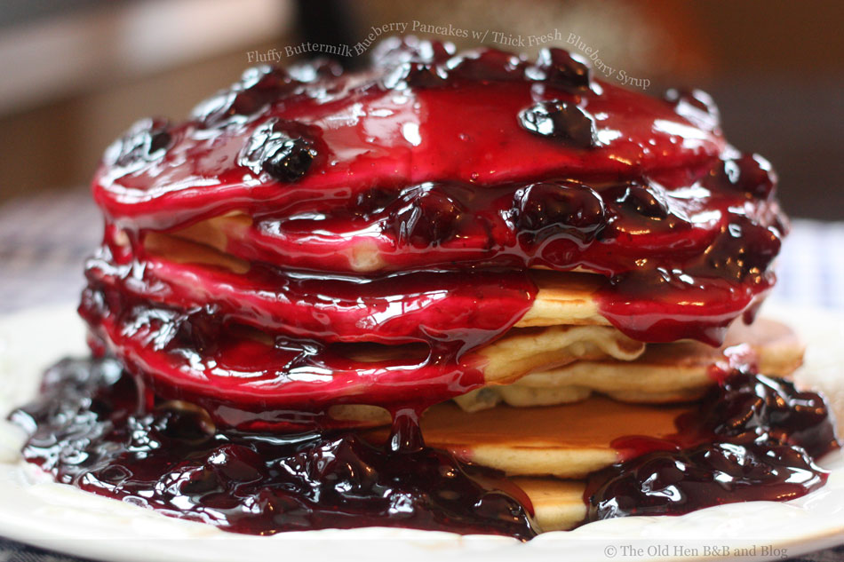 Fluffy Buttermilk Blueberry Pancakes with Thick Fresh Blueberry Syrup