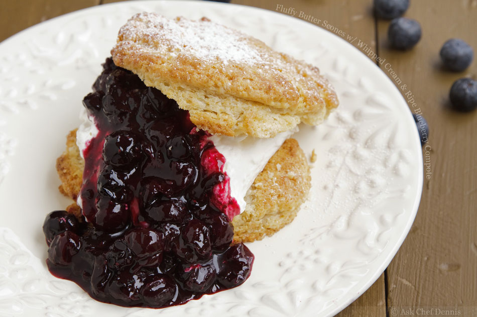 Fluffy Butter Scones with Whipped Cream and Ripe Blueberry Compote