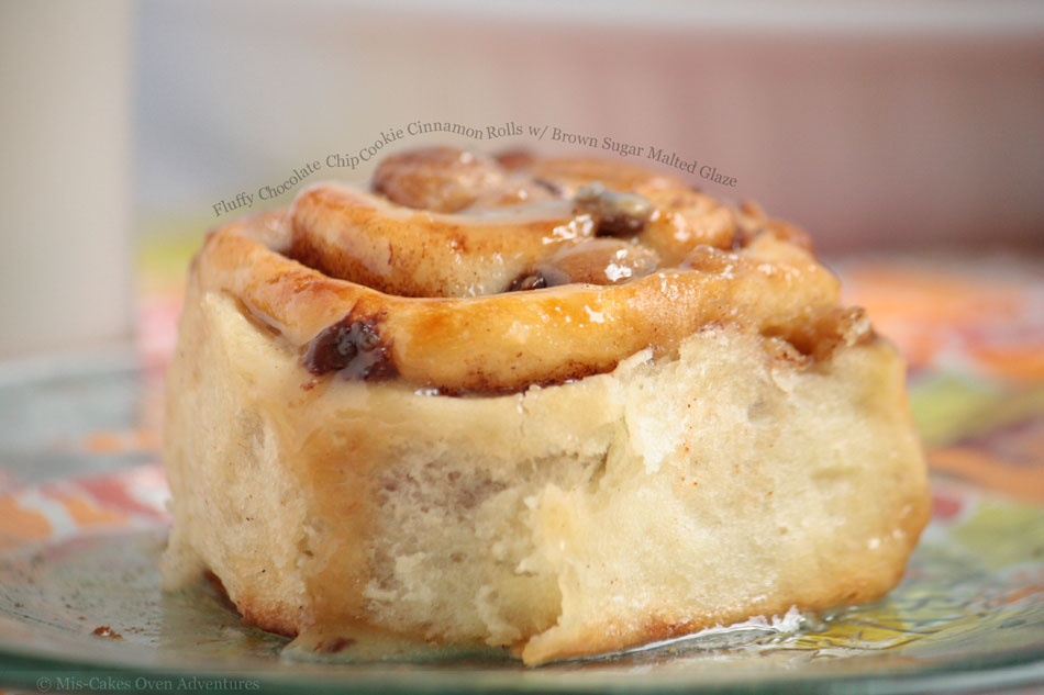 Fluffy Chocolate Chip Cookie Cinnamon Rolls with Brown Sugar Malted Glaze