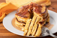 Fluffy Cornbread Pancakes with Maple Glaze, Bacon and Butter