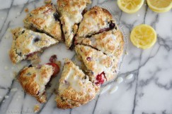 Fluffy Crumbly Lemon and Mixed Berry Greek Yogurt Scones  Drizzled with Zesty Lemon Icing