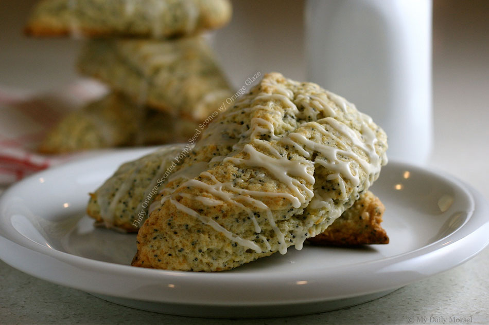 Fluffy Orange-Scented Poppy Seed Scones with Orange Glaze