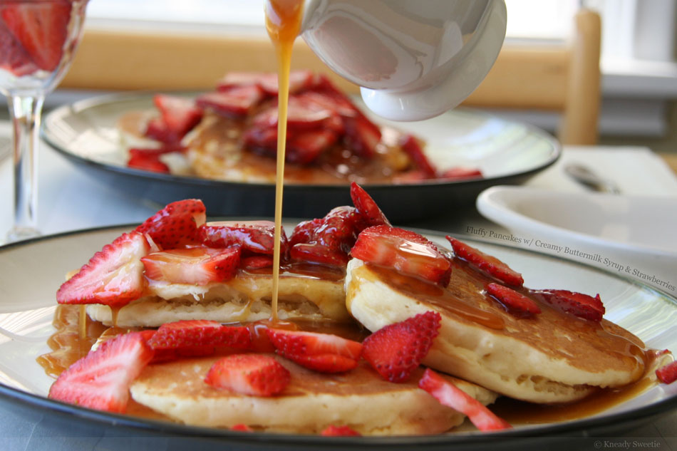 Fluffy Pancakes with Creamy Buttermilk Syrup and ...