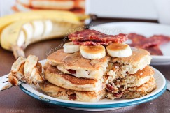 Fluffy Peanut Butter Banana Pancakes Stuffed with Bacon