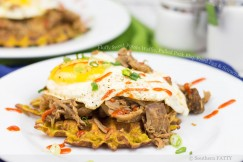 Fluffy Sweet Potato Waffle, Pulled Pork Bbq, Fried Egg and Sriracha