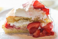 Fluffy Vanilla Butter Cake with Ripe Strawberries and Whipped Cream
