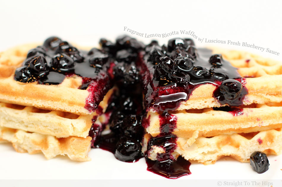 Fragrant Lemon Ricotta Waffles with Luscious Fresh Blueberry Sauce