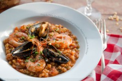 Fregola Pasta in a Sardinian Seafood Tomato Sauce with Mussels and Shrimp
