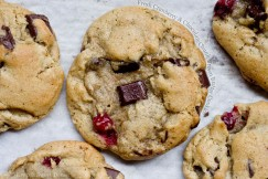 Fresh Cranberry and Chocolate Chunk Brown Butter Cookies