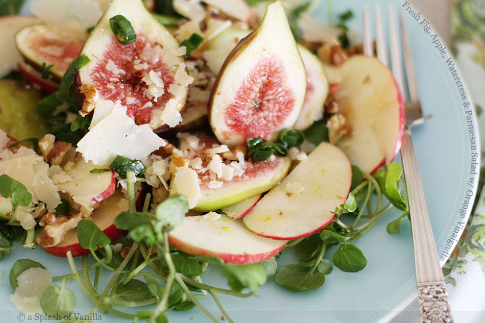 Fresh Fig, Apple, Watercress and Parmesan Salad with Orange Vinaigrette