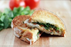 Fresh Mozzarella, Basil Pesto, Arugula and Tomato on Buttery Ciabatta Bread