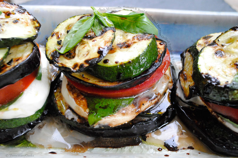 Fresh Mozzarella, Tomato and Basil Sandwiched Between Grilled Zucchini and Eggplant