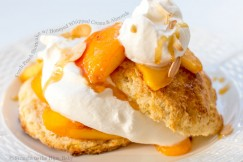 Fresh Peach Shortcake with Honeyed Whipped Cream and Almonds