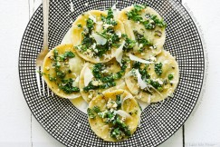 Fresh Ricotta and Kale Ravioli in a Sage Butter Sauce with Shaved Parmesan