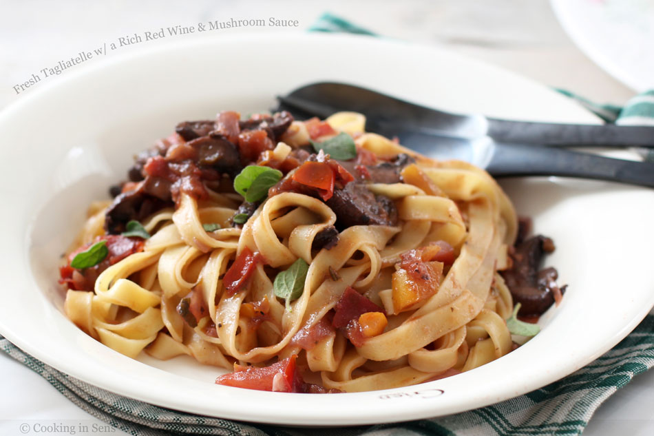 Fresh Tagliatelle with a Rich Red Wine and Mushroom Sauce