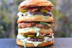 Fried Chicken Sandwich Stuffed Inside a Double Jalapeno Bacon Cheeseburger with Hatch Chile Aioli