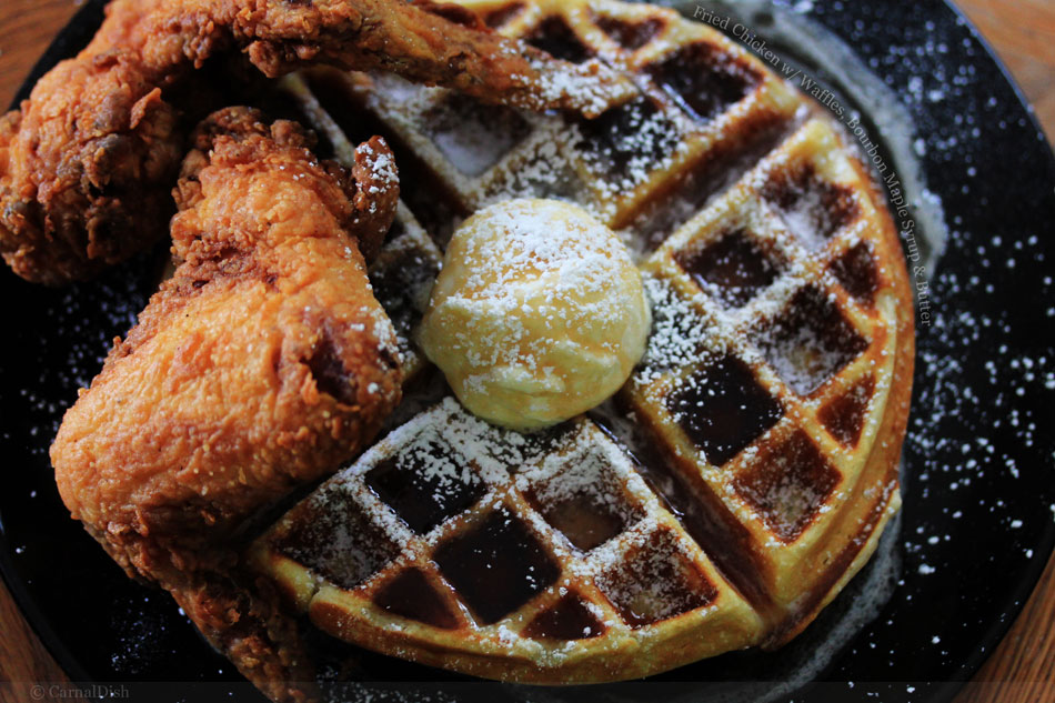 Fried Chicken with Waffles, Bourbon Maple Syrup and Butter