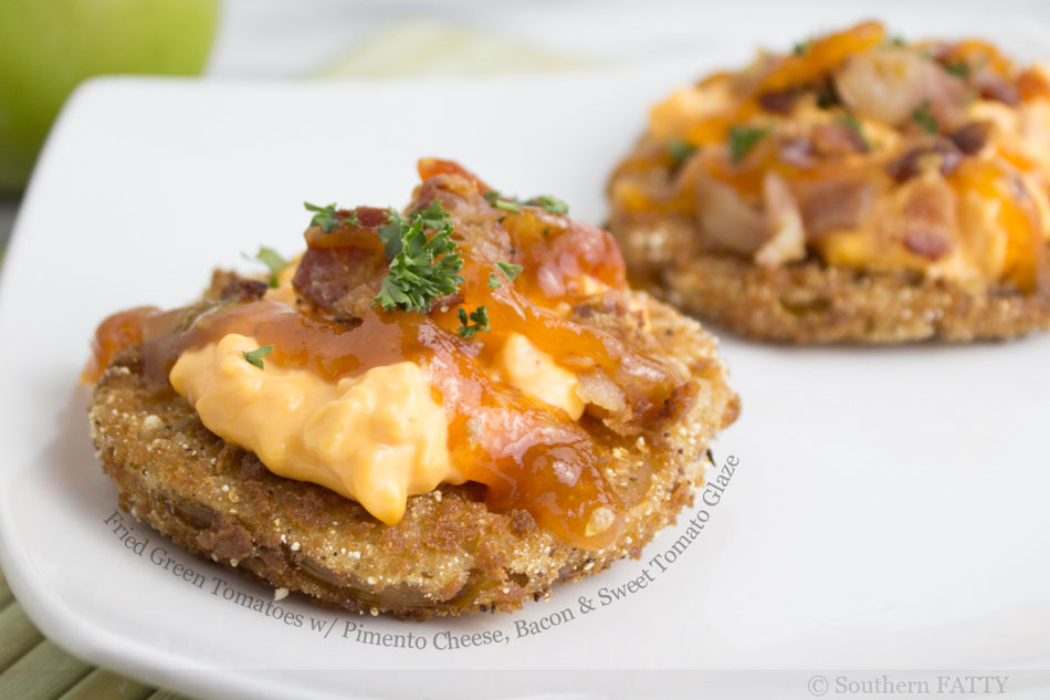Fried Green Tomatoes with Pimento Cheese, Bacon and Sweet Tomato Glaze