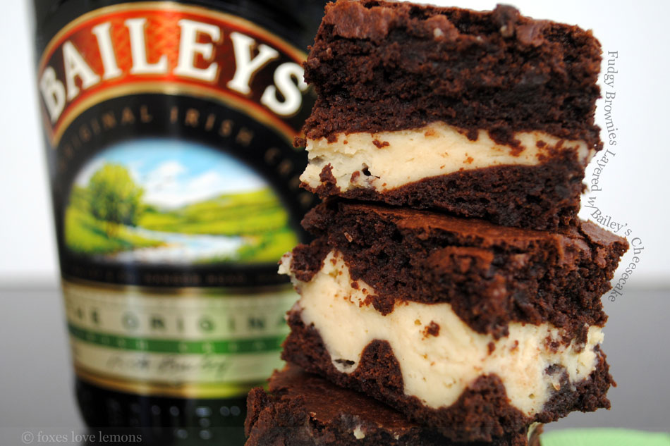 Fudgy Brownies Layered with Bailey's Cheesecake