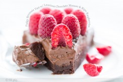 Fudgy Brownie Tart with Luscious Chocolate Mousse and Ripe Raspberries