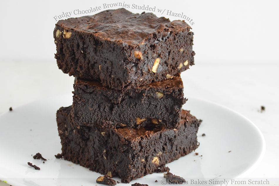Fudgy Chocolate Brownies Studded with Hazelnuts
