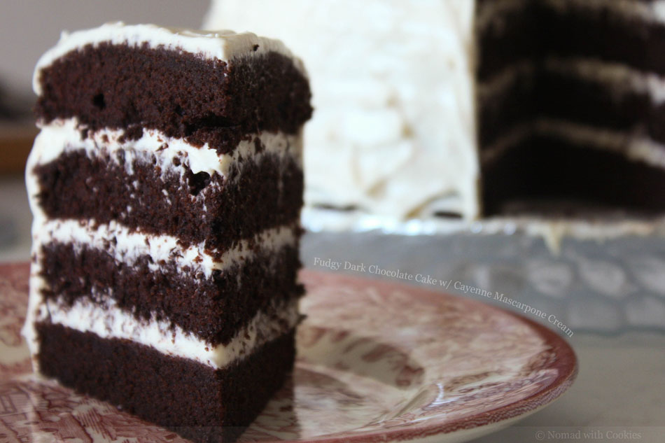 Fudgy Dark Chocolate Cake with Cayenne Mascarpone Cream