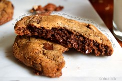 Fudgy Flourless Pecan Butter Cookies with Bittersweet Chocolate Chunks Sprinkled with Sea Salt