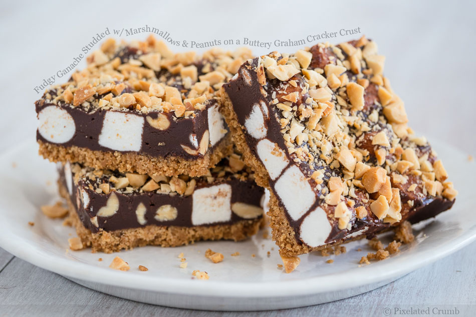 Fudgy Ganache Studded with Marshmallows and Peanuts on a Buttery Graham Cracker Crust