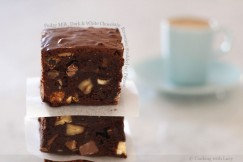 Fudgy Milk, Dark and White Chocolate Brownies Studded with Pecans