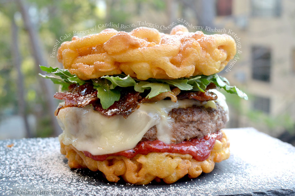 Funnel Cake Burger with Candied Bacon, Taleggio Cheese, Strawberry Rhubarb Ketchup and Arugula