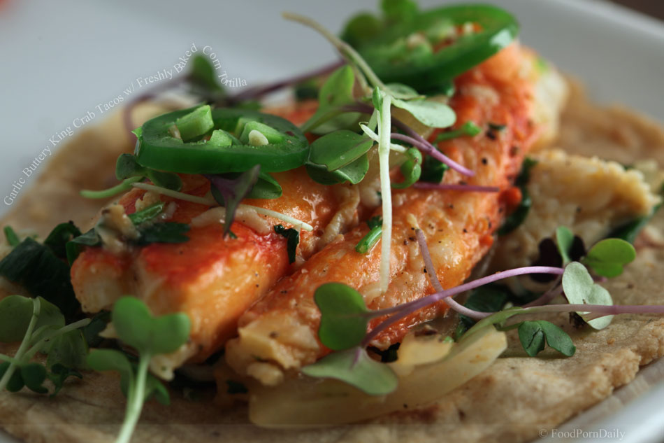 Garlic Buttery King Crab Tacos with Freshly Baked Corn Tortilla
