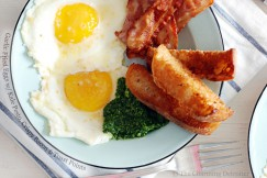 Garlic Fried Eggs with Kale Pesto, Crispy Bacon and Toast Points