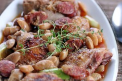 Spanish Garlicky White Wine Braised Chicken and Chorizo with Butter Beans