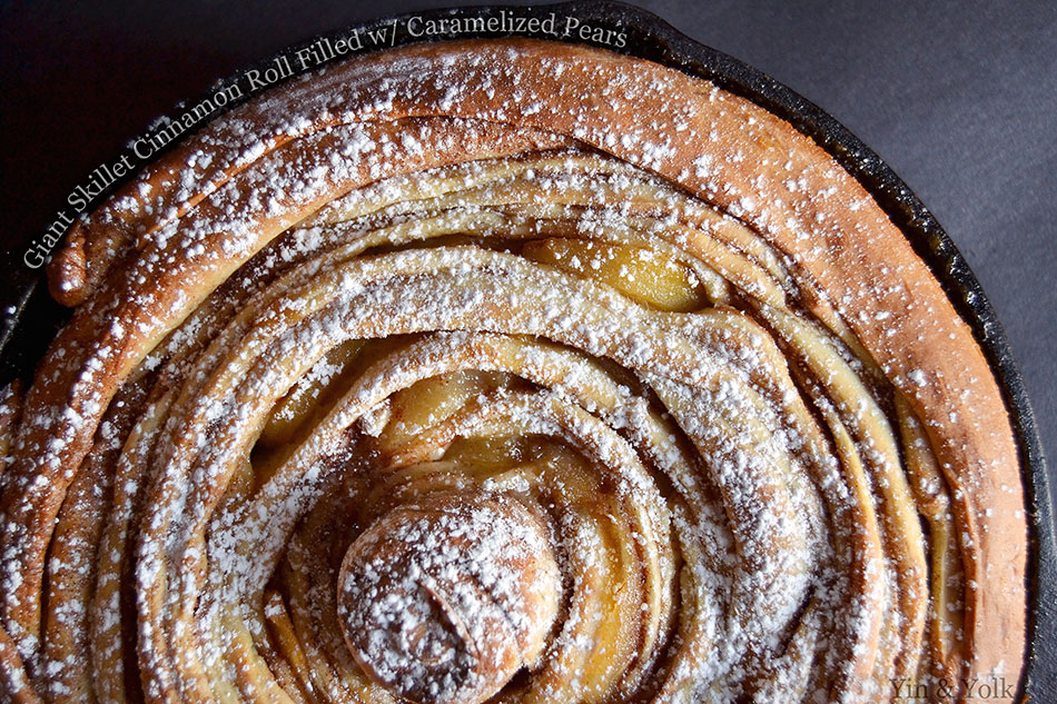 Giant Skillet Cinnamon Roll Filled with Caramelized Pears