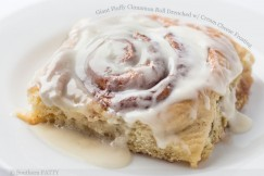 Giant Fluffy Cinnamon Roll Drenched with Cream Cheese Frosting