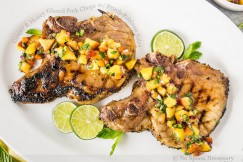 Ginger and Honey Glazed Pork Chops with Peach-Poblano Salsa