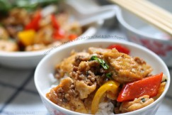 Gingery Minced Pork and Tofu Stir-fry with Red and Yellow Peppers