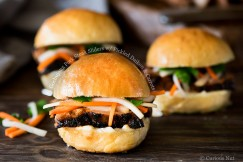 Gochujang Pork Steak Sliders with Pickled Daikon and Carrots