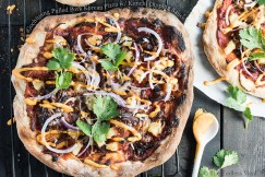 Gochujang Pulled Pork Korean Pizza with Kimchi Dipping Sauce