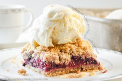 Gooey Blackberry Crumb Bar Topped with Vanilla Ice Cream