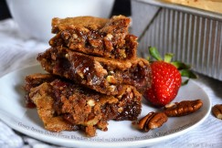 Gooey Brown Butter Pecan Blondies Swirled with Strawberry Preserves and Ripe Strawberries