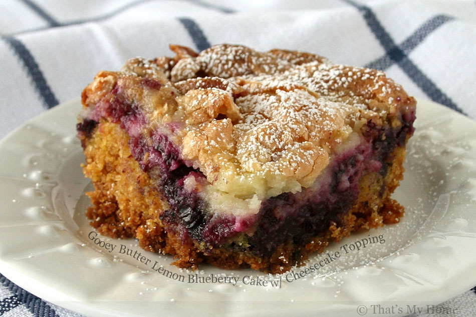 Gooey Butter Lemon Blueberry Cake with Cheesecake Topping