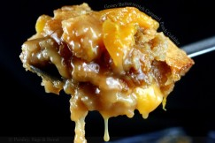 Gooey Butterscotch Caramel Peach Cobbler