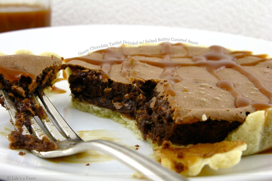 Gooey Chocolate Tartlet Drizzled with Salted Butter Caramel Sauce