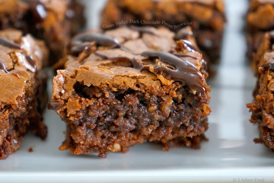 Gooey Fudgy Dark Chocolate Pecan Brownies