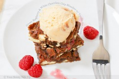 Gooey Raspberry and White Chocolate Chip Blondies with Vanilla Ice Cream