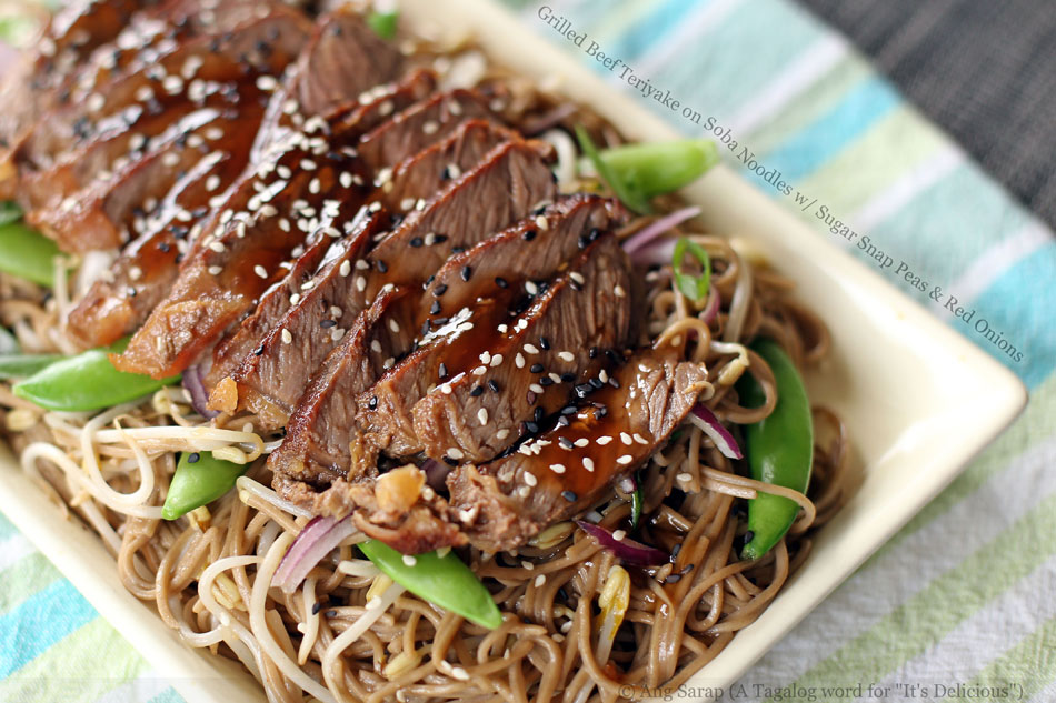 Grilled Beef Teriyake on Soba Noodles with Sugar Snap Peas and Red Onions