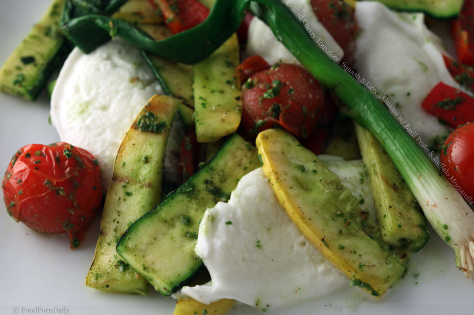Grilled Cherry Tomatoes, Squash and Green Onions with Basil Pesto and Buffalo Mozzarella